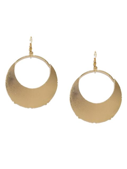DressBerry Gold-Toned Textured Circular Drop Earrings