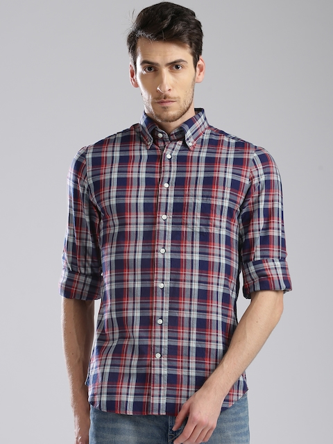 GANT Red & Blue Checked Fitted Fit Casual Shirt