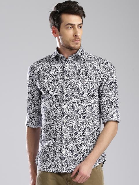 GANT Men White & Navy Blue Slim Fit Printed Casual Shirt