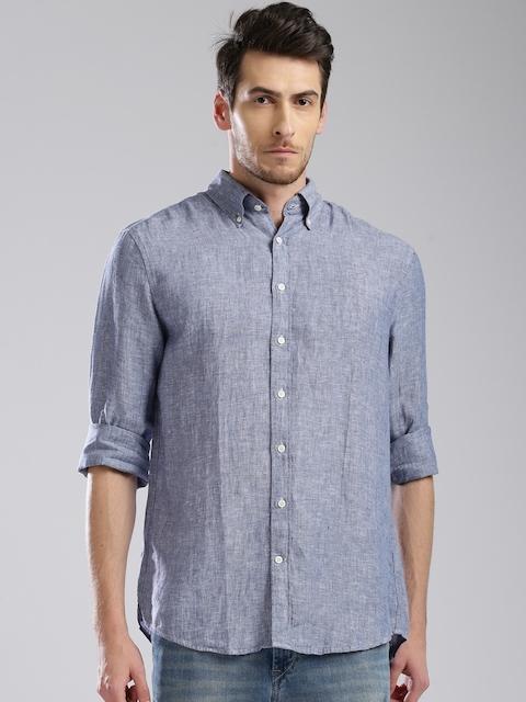 GANT Men Blue Linen Regular Fit Solid Casual Shirt