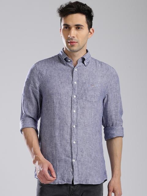 GANT Men Blue Linen Regular Fit Striped Casual Shirt