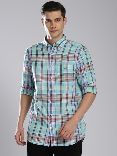 GANT Men Blue & Green Slim Fit Checked Casual Shirt
