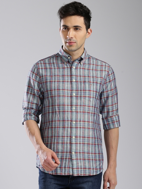 GANT Blue & Grey Checked Regular Fit Casual Shirt