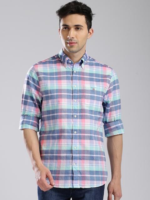 GANT Men Blue & Pink Regular Fit Checked Casual Shirt