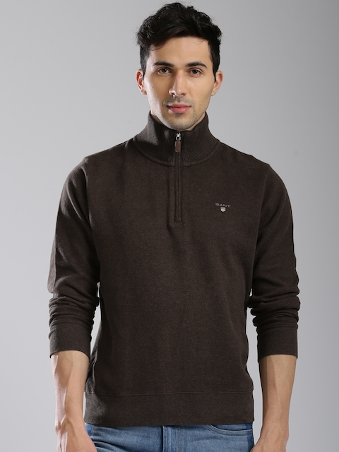 GANT Men Brown Solid Sweatshirt