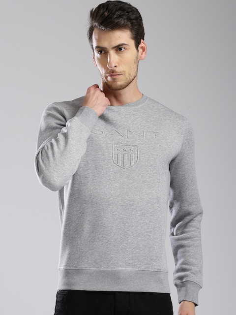 GANT Men Grey Melange Self Design Sweatshirt