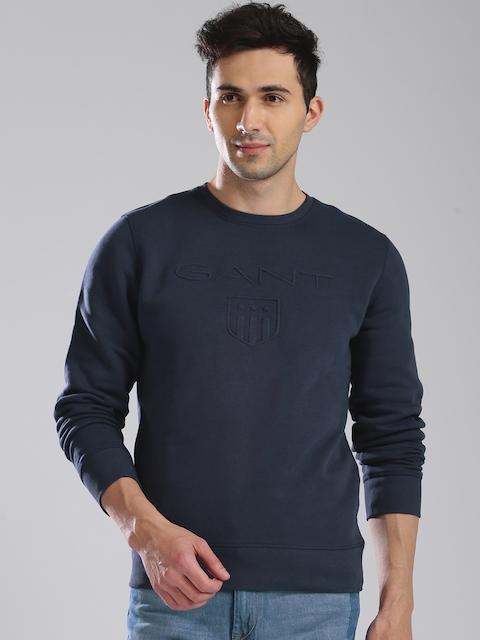 GANT Men Navy Blue Solid Sweatshirt