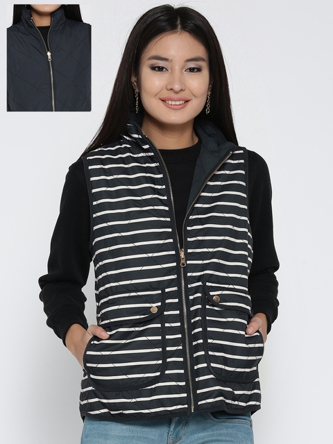 U.S. Polo Assn. Women Women Navy Blue Striped Sleeveless Reversible Quilted Jacket