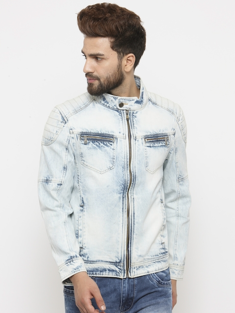 Monteil & Munero Men Blue Solid Denim Jacket  available at myntra for Rs.3299