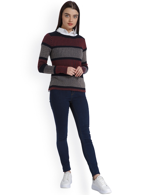 Vero Moda Women Blue & Pink Striped Pullover