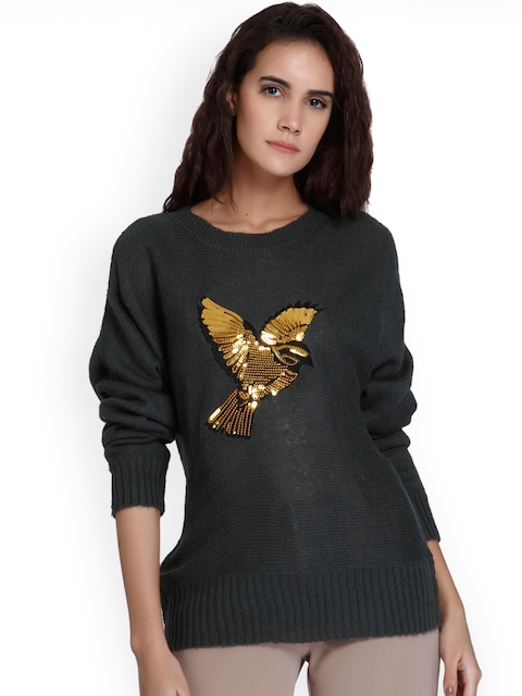 Vero Moda Women Green Self Design Sweater