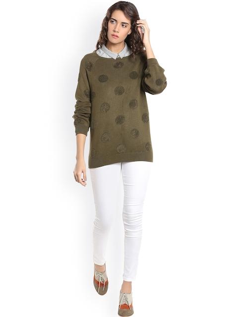 Vero Moda Women Olive Green Self Design Sweater