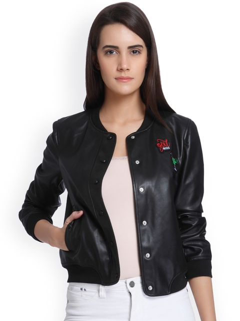 Vero Moda Women Black Solid Biker Jacket