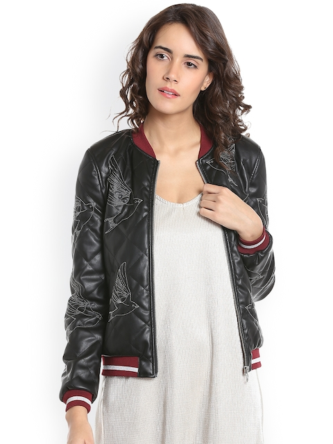 Vero Moda Women Black Self-Design Quilted Jacket