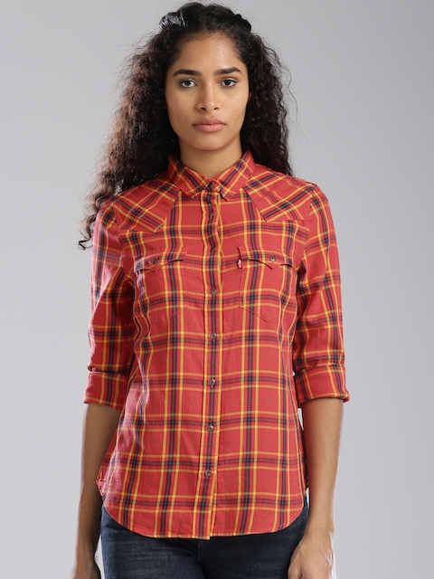Levis Women Coral Red & Yellow Regular Fit Checked Casual Shirt