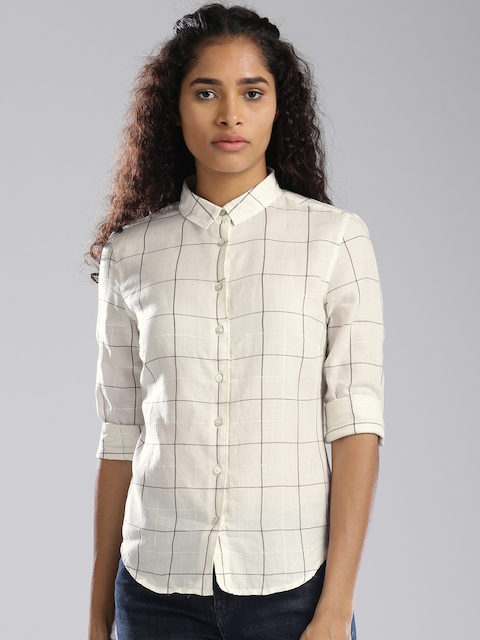 Levis Women Off-White Regular Fit Checked Casual Shirt