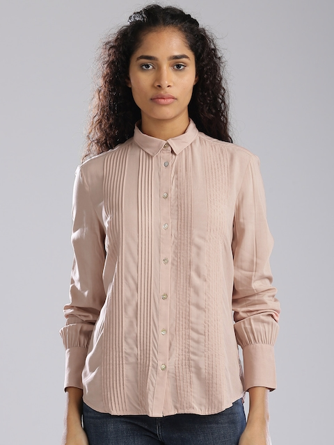Levis Women Pink Regular Fit Solid Casual Shirt