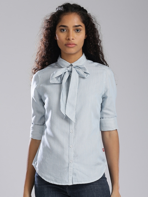 Levis Women Blue & Off-White Regular Fit Striped Casual Shirt