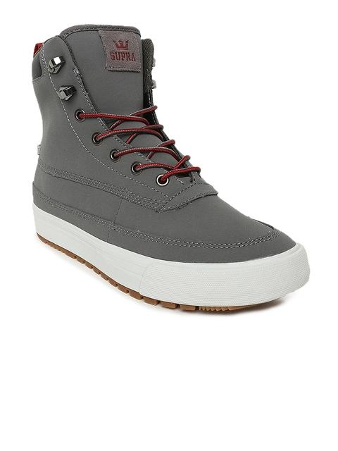 Supra Men Grey Solid OAKWOOD Leather Sneakers