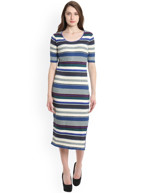 United Colors of Benetton Women Blue Striped A-Line Dress
