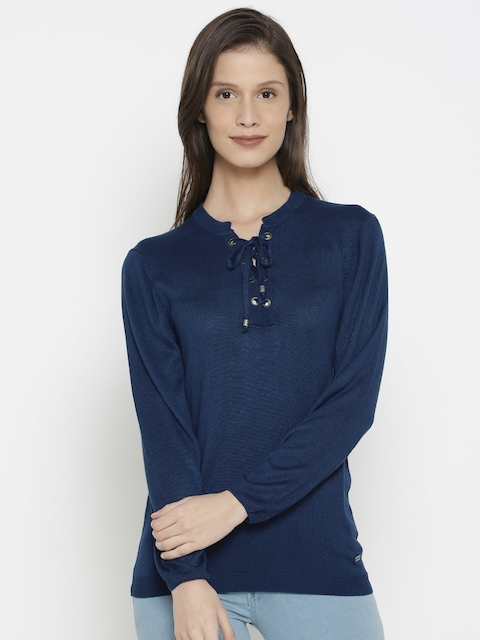 Pepe Jeans Women Blue Solid Pullover Sweater