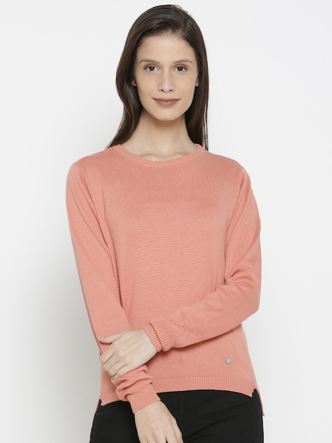 Pepe Jeans Women Peach-Coloured Solid Pullover Sweater