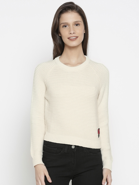 Pepe Jeans Women Beige Solid Pullover Sweater