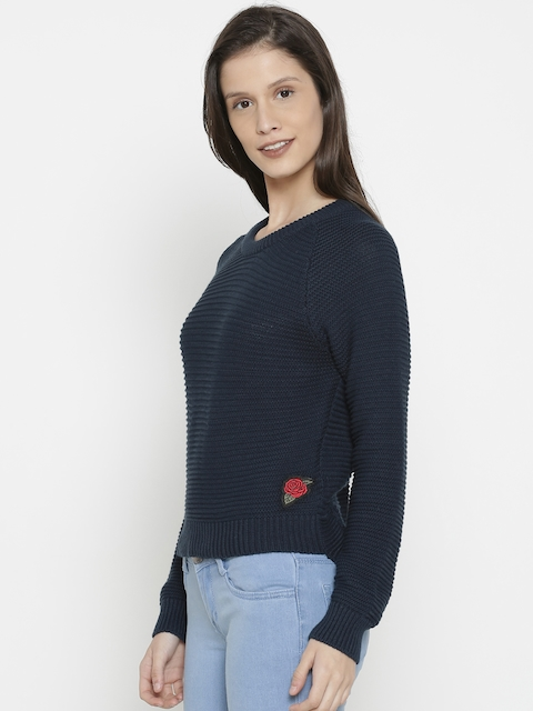 Pepe Jeans Women Navy Blue Solid Pullover Sweater