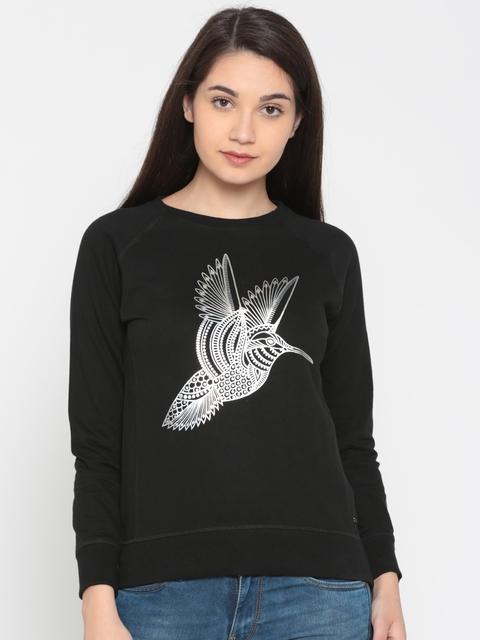 Pepe Jeans Women Black Printed Sweatshirt