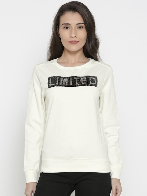Pepe Jeans Women Off-White Solid Sweatshirt