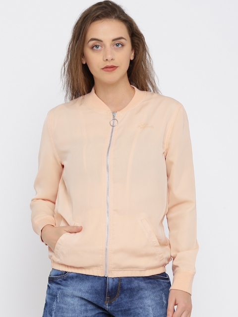 Pepe Jeans Women Pink Solid Bomber Jacket