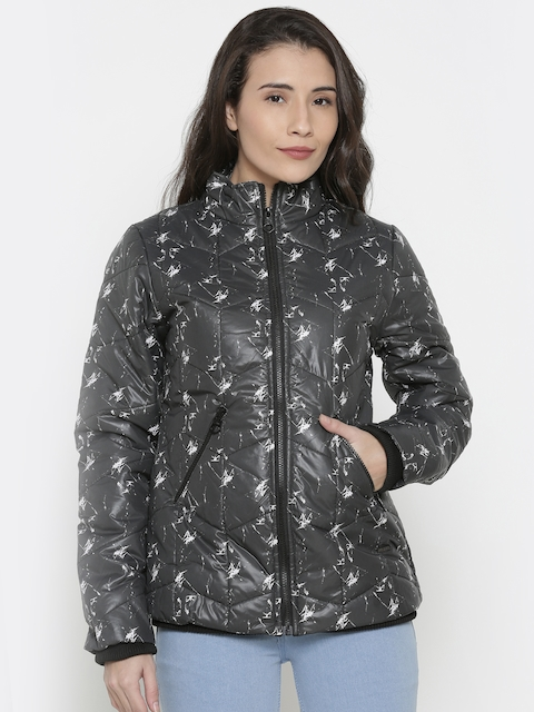Pepe Jeans Women Black Printed Padded Jacket