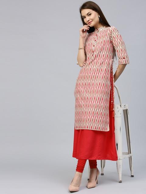 Jaipur Kurti Women Off-White & Pink Solid Layered A-Line Kurta