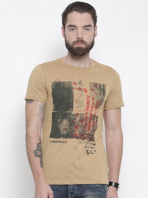 Jack & Jones Men Tan Printed Round Neck T-shirt
