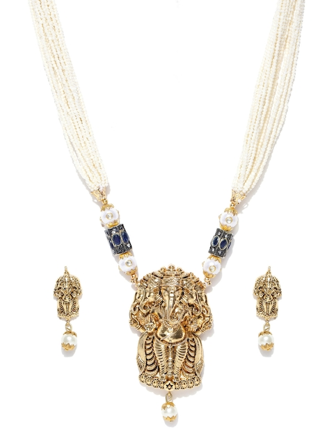 PANASH Off-White & Antique Gold-Toned Beaded Lord Ganesha-Textured Statement Jewellery Set