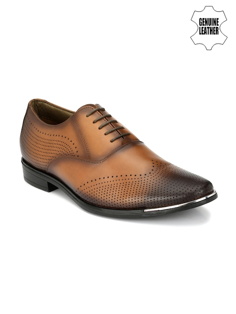Hitz Men Tan Brown Genuine Leather Perforated Oxfords