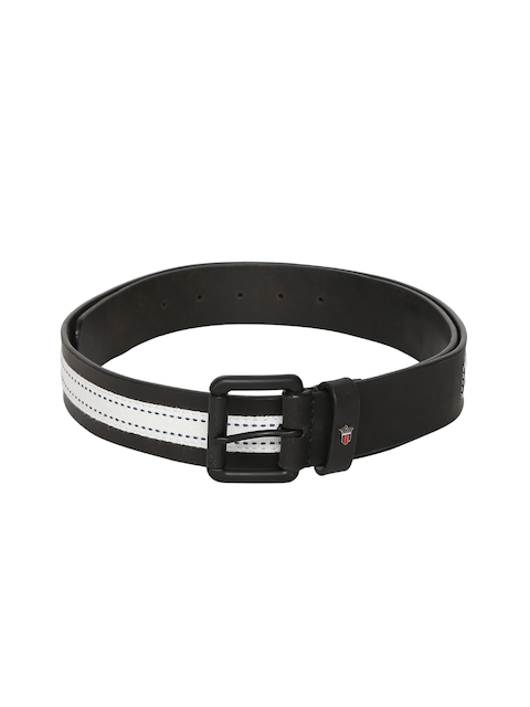 Louis Philippe Men Black & White Striped Leather Belt