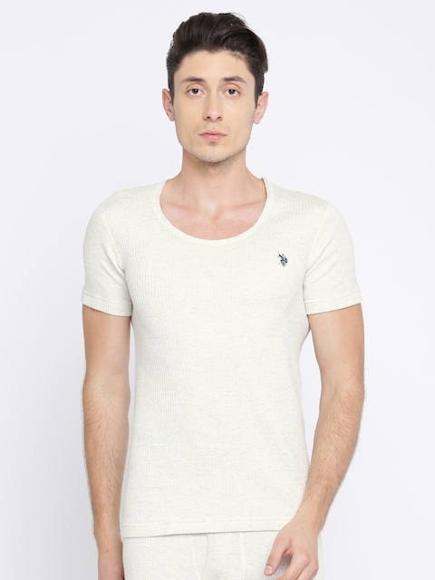 U.S. Polo Assn. Men Off-White Striped Thermal T-shirt I618-283-PL