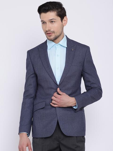Raymond Blue Self-Design Slim Fit Casual Single-Breasted Blazer