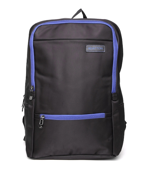 United Colors of Benetton Men Black Solid Backpack