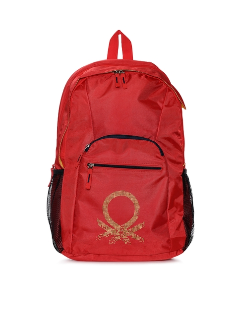 United Colors of Benetton Men Red Brand Logo Backpack