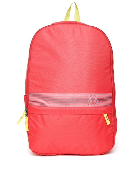 United Colors of Benetton Men Red Printed Detail Backpack