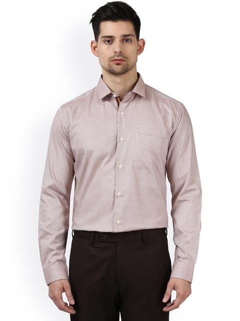 Park Avenue Men Beige Slim Fit Self Design Formal Shirt