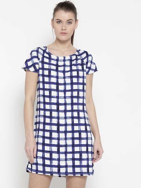 Pepe Jeans Women White & Blue Checked A-Line Dress