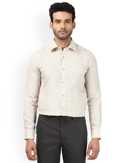 Raymond Men Beige Regular Fit Printed Formal Shirt