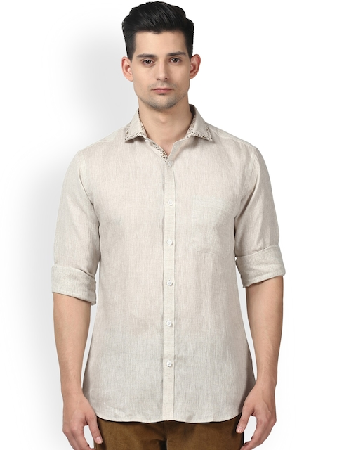 Raymond Men Beige Slim Fit Solid Casual Shirt