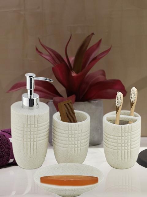 Shresmo Set of 4 Off-white Textured Bath Accessories
