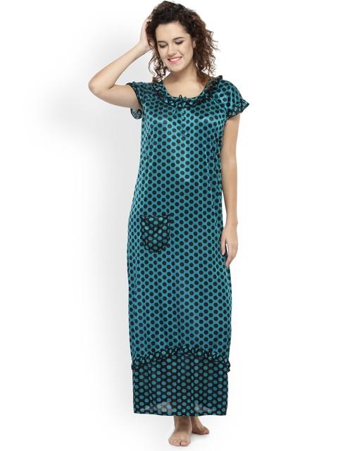 N-Gal Green & Black Printed Nightdress