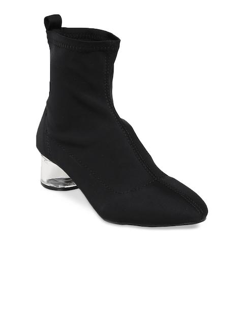 Flat n Heels Women Black Solid Heeled Boots