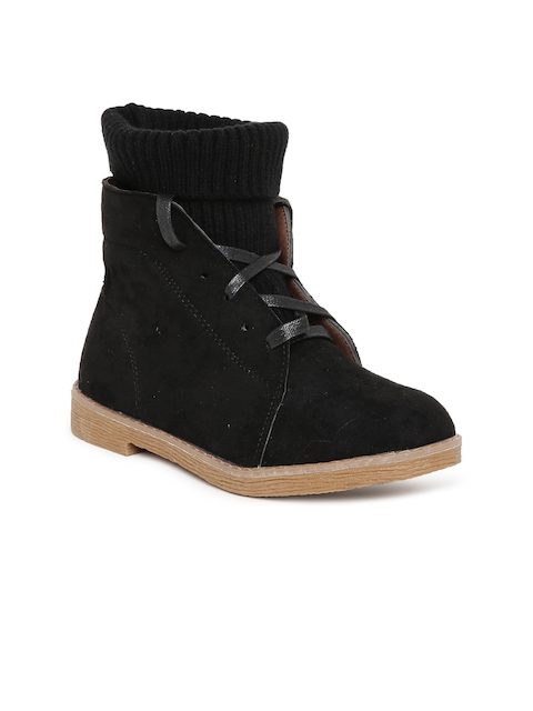 Flat n Heels Women Black Solid Suede High-Top Flat Boots